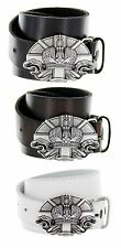Vatican Made in Italy Silver Buckle with Genuine Leather Casual Belt Strap