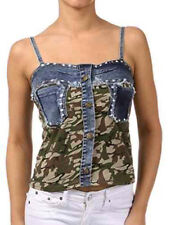 New Woman's Juniors Denim Tank Army Camouflage Sequin Top Cotton Fashion Central