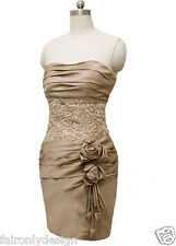 Stock FairOnly Short Champagne Mother of The Bridal Wedding Dress 6,8,10,12,14