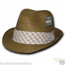 Decky Paper Braid Woven Fedora Fedoras Trilby Panama Fashion Hats Hat Brown