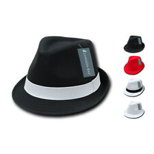 NEW DECKY BLACK WHITE RED POLY WOVEN FEDORA HIPSTER MIAMI HAT CAP HATS 2 SIZES