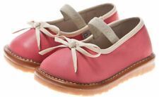 Girls Infant Toddler - Leather Squeaky Shoes - Pink with Cream Bow