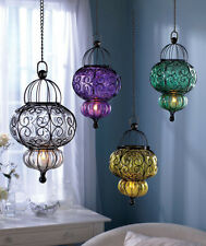 HANGING METAL BLOWN GLASS PENDANT LED TEA LIGHT CANDLE LANTERN LAMP CHANDELIER