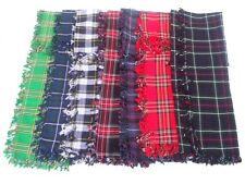 BRAND NEW WOOL TARTAN FLY PLAIDS IN VARIOUS STYLES 48 X 48 WITH BROOCH