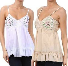New Woman's Junior Cotton Sleeveless Summer Top Beaded Baby Doll Fashion Central