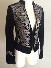 NWT WHITE HOUSE BLACK MARKET  Embroidered Velvet Jacket Sz :00 0, 2, 4, 6, 8