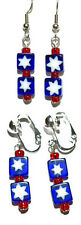 PATRIOTIC RED WHITE BLUE PIERCED or CLIP ON DANGLE EARRINGS (D143)