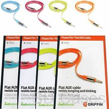 NEON Griffin Flat Aux Cable 3' Connect + Play for MP3 iPod iPhone Samsung HTC