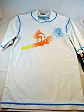 NWT  Cherokee Rash Guard White with Surfer on Front