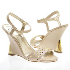 Nude Open Toe Gold Studs Ankle Strap Curved Wedge High Heel Sandal Pump US 5-10