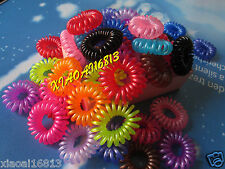 20 50 100pcs Telephone Coil Charms Elastic Band Hair Accessories Mix Colors
