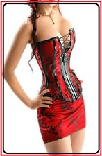 Sexy Red HOT Lingerie Clubwear Strapless Satin Floral Corset Bustier Skirt CB27