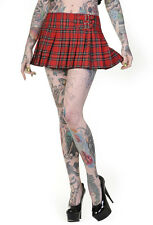 Banned pleated short mini skirt red checked tartan buckles goth emo 10 12 14 16