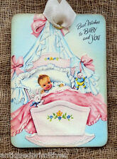 Hang Tags  RETRO BEST WISHES BABY TAGS or MAGNET #174  Gift Tags