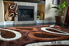 """Soft shag Rug1""""thick pile,with silver spark abstract brown ivory huge carpet"""