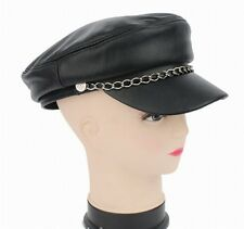Men's / Women's Real Sheepskin Leather Black Beret Flat Top/Cap Hat /Hip-hop hat