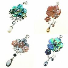 Mother of pearl Abalone Shell Pink Shell flower Pendant