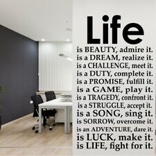 LIFE wall quote bedroom sticker vinyl quotes transfer decal mural home decals