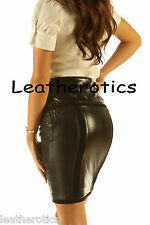 Knee Length Leather skirt pencil style tight fit sexy black unique suede sk23
