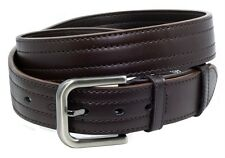 """Mens BROWN BONDED LEATHER Casual Belt Accent Stitching 1-1/2"""" wide ZP31"""