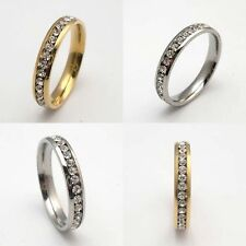 Gold Plated Stainless Steel Swarovski Crystal CZ Thin band Ring with gift box