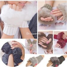 Women Rabbit Fur Hand Wrist Warmer Winter Fingerless Furry Knit Gloves Mittens