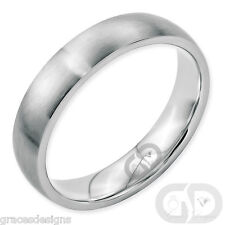 Mens Classic 5mm Traditional Wedding Band Stainless Steel Brushed Ring Size 5-13