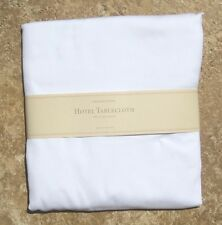 "WILLIAMS SONOMA ~ WHITE HOTEL TABLECLOTH ~ 70"" ROUND or 70"" x126"" ~ POTTERY BARN"