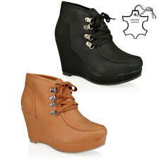 WOMENS LADIES ANKLE LACE WEDGE HEEL LEATHER INSOLE WINTER BOOTS SHOES SIZE