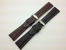 22mm Black Brown Hadley Roma Genuine Leather Watch Band fits for Breitling MS895