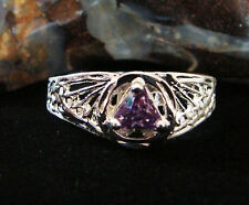 Sterling Silver Alcoholics Anonymous Filigree Amethyst AA Symbol Ring 120