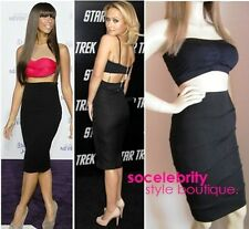 BLACK BANDAGE BODYCON MIDI KNEE LENGTH TUBE SKIRT 6 8 10 12 14 PETITE REG TALL