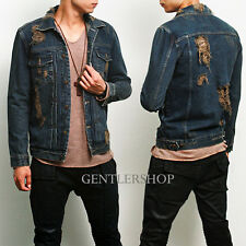 Mens Fashion Heavy Distressed Vintage Style Denim Jacket 514, GENTLERSHOP