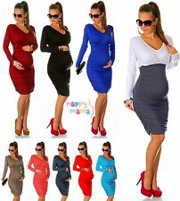 Sexy Pregnancy Maternity Stretch Bodycon Ruched Dress Long Sleeve UK 10-18 886