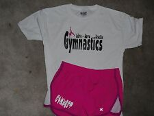 "Gymnast running shorts with a"" Gymnastics live, love breathe"" t-shirt"