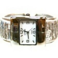 Women's Cuff Fashion Watch by Geneva Rectangle Face Silver Tone Silver Sequins