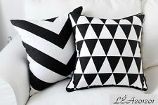 45x45cm Black White ZigZag Chevron/Geometric Triangles Canvas Cushion Cover