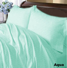 "HOTEL BRAND 800TC ""AQUA BLUE"" SOLID-STRIPE 100% COTTON BEDDING SET ALL SIZE"