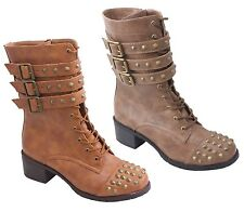 NEW Women's Spike Studs Military Punk Combat Boots w/  Spiky Straps & Buckles.