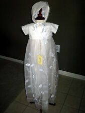 White Silk and Organza Christening Gown by Amacello AM 219 NWT