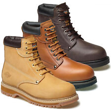 MENS DICKIES CLEVELAND LEATHER SAFETY WORK ANKLE BOOTS STEEL TOE CAP SHOES SIZES
