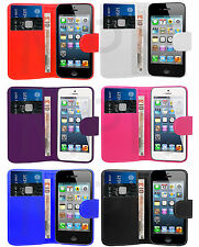 PU Leather Wallet Case Cover Flip & Film For Various Apple iPhone Mobile Phone