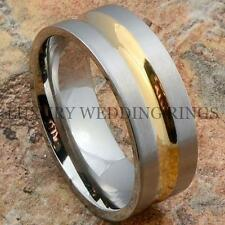 Mens Titanium Ring 14K Gold Tone Wedding Band Brushed Bridal Jewelry Size 6-13