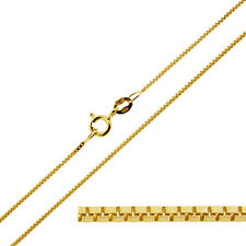 "9CT SOLID YELLOW GOLD 16 18 20 22 24 26 28 30"" INCH FINE BOX LINK NECKLACE CHAIN"
