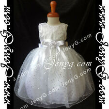 #HF01 Flower Girls/Christening/Formal/Pageant/Party Gown Dress, White 0-5 Years
