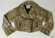 NWT Boutique OOH LA LA COUTURE Tan Snakeskin Motorcycle Faux Leather JACKET