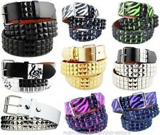 New Black & White & Hot Pink Zebra 3Row Pyramid Studded Punk Goth Belt Men Women
