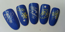 Sparkling Christmas Nail Art Water Transfer Decals For Natural/False Nails