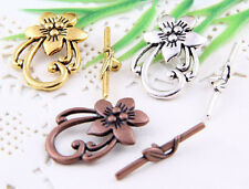 20Sets Tibetan Silver、Gold 、Copper Tone Leaf Connector Toggle Clasps 30x20mm