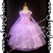 #PB01 Flower Girls/Holiday/Formal/Pageant/Party Dress Gown, Purple 3-14 Years